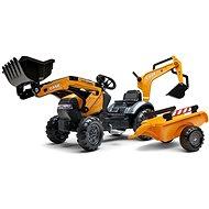 Trettraktor Case Constraction 580 Super N mit Schaufel vorne und hinten und Anhänger - orange - Trettraktor