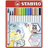 STABILO Pen 68 brush 15 pcs metal case - Felt Tip Pens