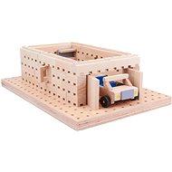 Holzbausatz Buko - Garage mit Spielzeugauto 98 Teile - Holzbausatz