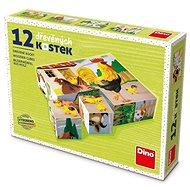 Holzwürfel Dino Haustiere 12 Würfel - Dřevěné kostky