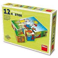 Holzwürfel Dino Doggy und Cat 12 Würfel - Dřevěné kostky