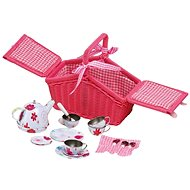 Small Foot Picknick-Korb Rosa mit Geschirr - Kindergeschirr