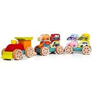 Cubika 13999 Zug mit Autos - Holzspielzeug