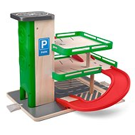 Woddy Garage mit Lift und SIKU-Wagen - Holz / Kunststoff - Garage