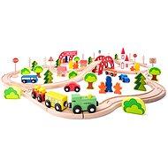 Woody Zug mit Brücke und Haltestelle - Modelleisenbahn