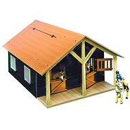 Holzmodell Mikro Trading Kids Globe Pferdestall mit einer Werkstatt - braun - Spieleisenbahn-Zubehör