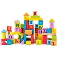 Holzwürfel Woody Bauklötze Pastellwürfel mit Buchstaben und Zahlen - Dřevěné kostky