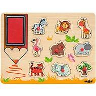 """Lernspielzeug Woody Stempel """"Exotische Tiere"""" - Didaktisches Spielzeug"""