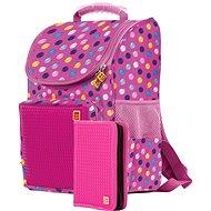 Pixie Schultasche und Federtasche-Set rotviolett/farbige Punkte - Schulranzen