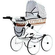 Teddies Kinderwagen Monika Retro weiß mit Tupfen - Puppenwagen