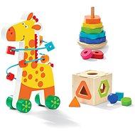 Holzspielzeug Pädagogisches Holzspielzeug 3in1-Set aus Holz - Giraffe mit Perlenlabyrinth - Dřevěná hračka