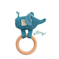Rattling Elephant with Wooden Ring - Baby Rattle