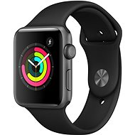 Apple Watch Series 3 42mm GPS Aluminiumgehäuse, Space Grau, mit Sportarmband, Schwarz - Smartwatch