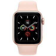 Apple Watch Series 5 40mm Gold Aluminium mit sandrosa Sportarmband - Smartwatch