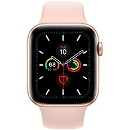 Apple Watch Series 5 44mm Gold Aluminium mit sandrosa Sportarmband - Smartwatch