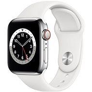 Apple Watch Series 6 - 40 mm Cellular Silver Edelstahl mit weißem Sportarmband - Smartwatch