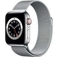 Apple Watch Series 6 - 40 mm Cellular Silver Edelstahl mit silbernem Milanaise Armband - Smartwatch