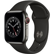 Apple Watch Series 6 - 40 mm Cellular Graphite Edelstahl mit schwarzem Sportarmband - Smartwatch