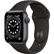 Apple Watch Series 6 44mm Aluminiumgehäuse Space Grau mit Sportarmband schwarz - Smartwatch