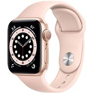 Apple Watch Series 6 44mm Aluminiumgehäuse GOld mit Sportarmband Sandrosa - Smartwatch