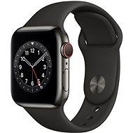 Apple Watch Nike Series 6 - 44 mm Cellular Graphite Edelstahl mit schwarzem Sportarmband - Smartwatch