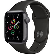 Apple Watch SE 44mm Aluminiumgehäuse Space Schwarz mit Sportarmband schwarz - Smartwatch
