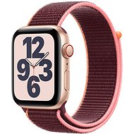 Apple Watch SE 44 mm Cellular gold Aluminium mit pflaumenfarbenem Sportarmband - Smartwatch