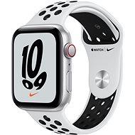 Apple Watch Nike SE Cellular 44mm Aluminiumgehäuse Silber mit Nike Sportarmband Pure Platinum Schwarz - Smartwatch