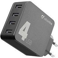 Cellularline Multipower 4 mit Smartphone Detect-Technologie 4 x USB-Anschluss 42W schwarz - Netzladegerät