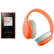 Set Sony MP4 16GB NW-A105L orange + Sony Hi-Res WH-H910N orange-grau - Sada
