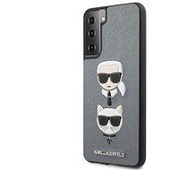 Handyhülle Karl Lagerfeld Saffiano K&C Heads Cover für Samsung Galaxy S21 - silber - Kryt na mobil