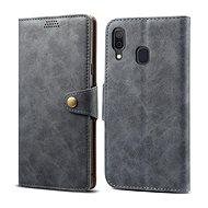 Lenuo Leather für Samsung Galaxy A40, Grau - Handyhülle