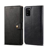 Lenuo Leder-Handyhülle für Samsung Galaxy A41, schwarz - Handyhülle