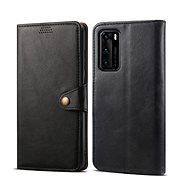 Lenuo Leder-Handyhülle für Huawei P40, schwarz - Handyhülle