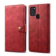 Lenuo Leder-Handyhülle für Samsung Galaxy A21s, rot - Handyhülle