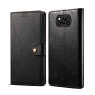 Lenuo Leder-Handyhülle für Xiaomi Poco X3, schwarz - Handyhülle