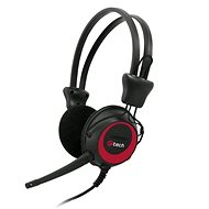 C-TECH MHS-02, schwarz-rot - Kopfhörer mit Mikrofon