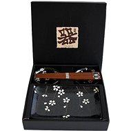 Made in Japan Sushi-Set schwarz mit weißem Blumen-Motiv - Set