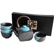Made in Japan Teeservice metallicfarben mit blauen Elementen 5-teilig - Teeset