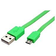 ROLINE USB 2.0 - USB A(M) -> micro USB B(M), 1m, flach, grün - Datenkabel