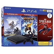 PlayStation 4 Slim 500GB + 3 Spiele (Spiderman, Horizon Zero Dawn, Ratchet and Clank) - Spielkonsole