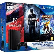 Playstation 4 - 1 TB Slim + 3 Spiele (Uncharted 4, Driveclub, Ratchet und Clank) - Spielkonsole