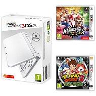 Nintendo NEW 3DS XL Pearl White + Mario Sports Superstars + YO-KAI WATCH 2: Bony Spirits - Spielkonsole