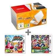 Nintendo NEW 2DS XL White & Orange + Kirby Battle Royale + Mario & Luigi: Superstar Saga - Spielkonsole