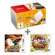 Nintendo NEW 2DS XL White & Orange + Pokémon Ultra Sun + YO-KAI WATCH 2 - Spielkonsole