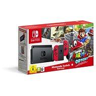 Nintendo Switch - Red + Super Mario Odyssey - Spielkonsole