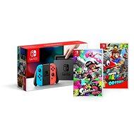 Nintendo Switch - Neon + Splatoon 2 + Super Mario Odyssey - Spielkonsole