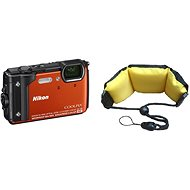 Nikon COOLPIX W300 Orange + 2in1 Schwimmriemen - Digitalkamera