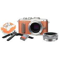 Olympus PEN E-PL8 braun + Pancake Objektiv ED 14-42EZ silber + Travel Kit - Digitalkamera