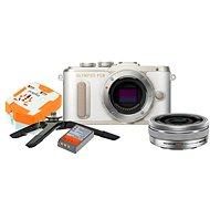 Olympus PEN E-PL8 weiß + Pancake Objektiv ED 14-42EZ Silber + Travel Kit - Digitalkamera